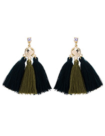 Bohemia Green+black Color-matching Decorated Tassel Earrings