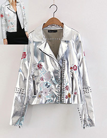 Personality Silver Color Embroidery Flower Shape Decorated Jacket