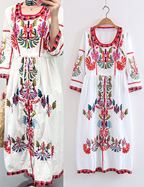 Bohemia White Embroidery Flower Shape Decorated Dress Reviews