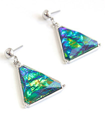 Elegant Green Triangle Shape Decorated Earrings