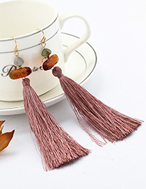 Bohemia Dark Pink Tassel Decorated Earrings