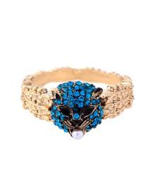 Retro Gold Color+blue Leopard Shape Decorated Ring