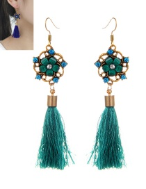 Retro Green Pure Color Decorated Tassel Earrings