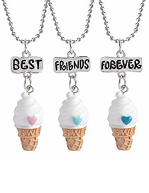 Cute White Ice Cream Decorated Necklace (3pcs)