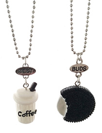 Cute White+black Coffee Shape Decorated Necklace (2pcs)