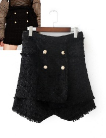 Elegant Black Double-breasted Decorated Shorts