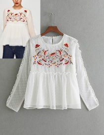 Elegant White Embroidery Decorated Blouse
