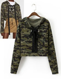 Fashion Green Bowknot Decorated Hoodies