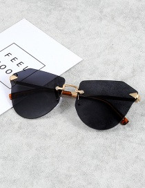 Fashion Black Irregular Shape Decorated Sunglasses
