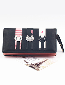 Cute Black Cat Pattern Decorated Wallet