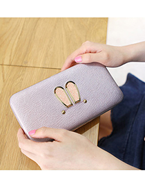 Lovely Purple Rabbit Ears Shape Decorated Wallet