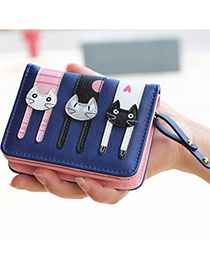 Lovely Navy Cat Pattern Decorated Short Wallet