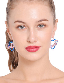 Fashion Pink+blue Heart Shape Decorated Earrings