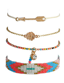 Fashion Multi-color Clover&arrow Shape Decorated Bracelet (4pcs)