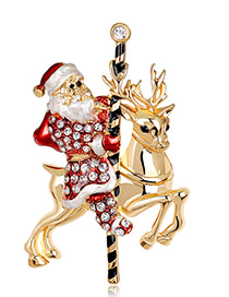 Fashion Gold Color Santa Claus&deer Shape Decorated Brooch