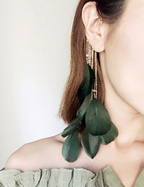 Fashion Gold Color+green Pure Color Decorated Earrings