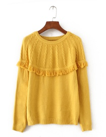 Fashion Yellow Tassel Decorated Sweater