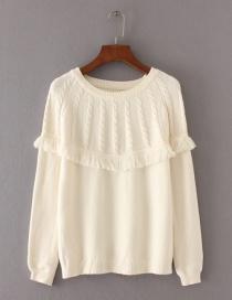 Fashion White Tassel Decorated Sweater