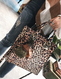 Fashion Brown Leopard Pineapple Shape Decorated Shoulder Bag