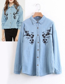 Fashion Light Blue Flower Decorated Shirt