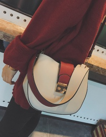 Fashion White Button Decorated Shoulder Bag