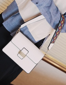 Fashion White Pure Color Decorated Shoulder Bag