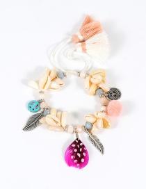 Fashion Pink Feather Decorated Pom Bracelet