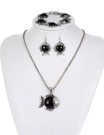 Fashion Black Fish Shape Decorated Jewelry Set ( 3 Pcs)