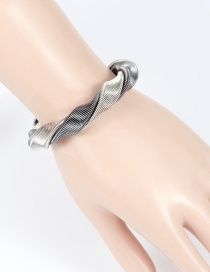 Fashion Silver Color+black Color Matching Decorated Bracelet