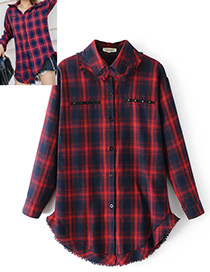 Fashion Red+blue Grid Pattern Decorated Shirt
