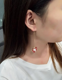Fashion Gold Color+red Unicorn Pattern Decorated Earrings