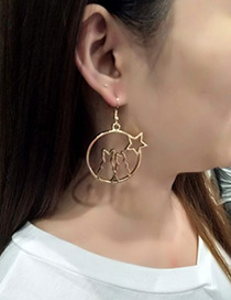 Fashion Gold Color Cat&star Shape Decorated Earrings
