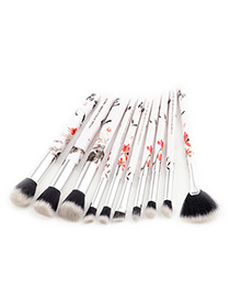 Fashion Silver Color Flower Pattern Decorated Makeup Brush (10 Pcs)