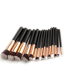 Fashion Gold Color+black Pure Color Decorated Makeup Brush ( 15 Pcs)