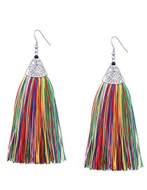 Vintage Multi-color Long Tassel Decorated Color Matching Earrings