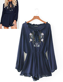 Fashion Navy Flower Pattern Decorated Long Sleeves Jumpsuit
