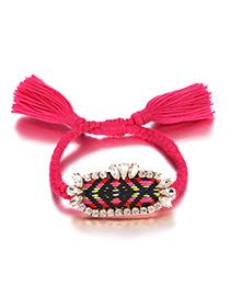 Fashion Plum Red Tassel&gemstone Decorated Hand-woven Bracelet