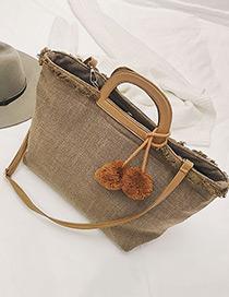 Trendy Khaki Fuzzy Ball Decorated Simple Handbag