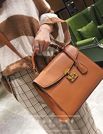Trendy Brown Pure Color Decorated Shoulder Bag