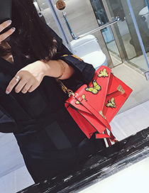 Trendy Red Butterfly Pattern Decorated Shoulder Bag