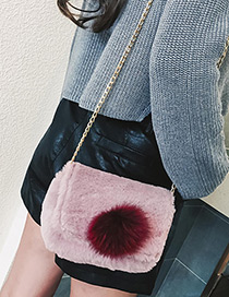 Trendy Pink Fuzzy Ball Decorated Simple Shoulder Bag