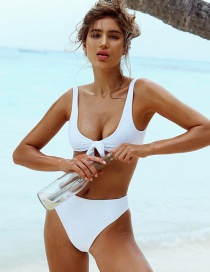 Fashion White Pure Color Decorated Swimwear