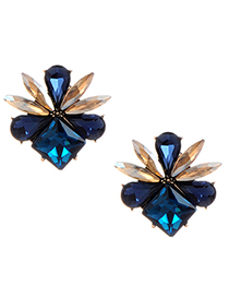 Fashion Navy Water Drop Decorated Earrings