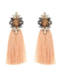 Fashion Light Orange Tassel Decorated Earrings