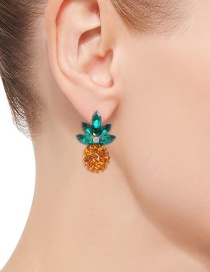 Fashion Orange+green Pineapple Shape Decorated Earrings