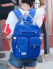 Fashion Sapphire Blue Pure Color Decorated Backpack