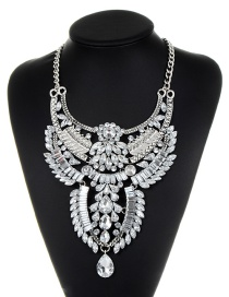 Fashion Silver Color Oval Shape Diamond Decorated Multi-layer Necklace