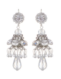 Fashion Silver Color Flower Shape Decorated Pure Color Earrings