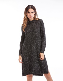 Trendy Black Pure Color Decorated Long Sleeves Split Sweater