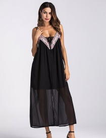 Trendy Black Embroidery Decorated Long Suspender Beach Dress